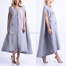 New fashion ladies dress with flower decoration long maxi dress for women long cape dress
