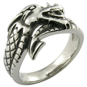 hot sale and cheap stainless steel sleeping dragon shape ring