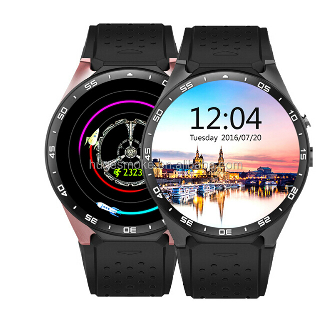 2017 wifi smart watch phone with color touch screen, WIFI gps camera ce rohs smart watch mobile phone for senior and adult KW88