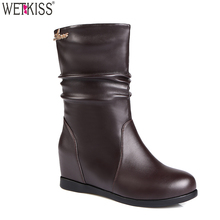 Wholesale Ladies Winter Round Toe Boots Middle Heel Ankle Boots