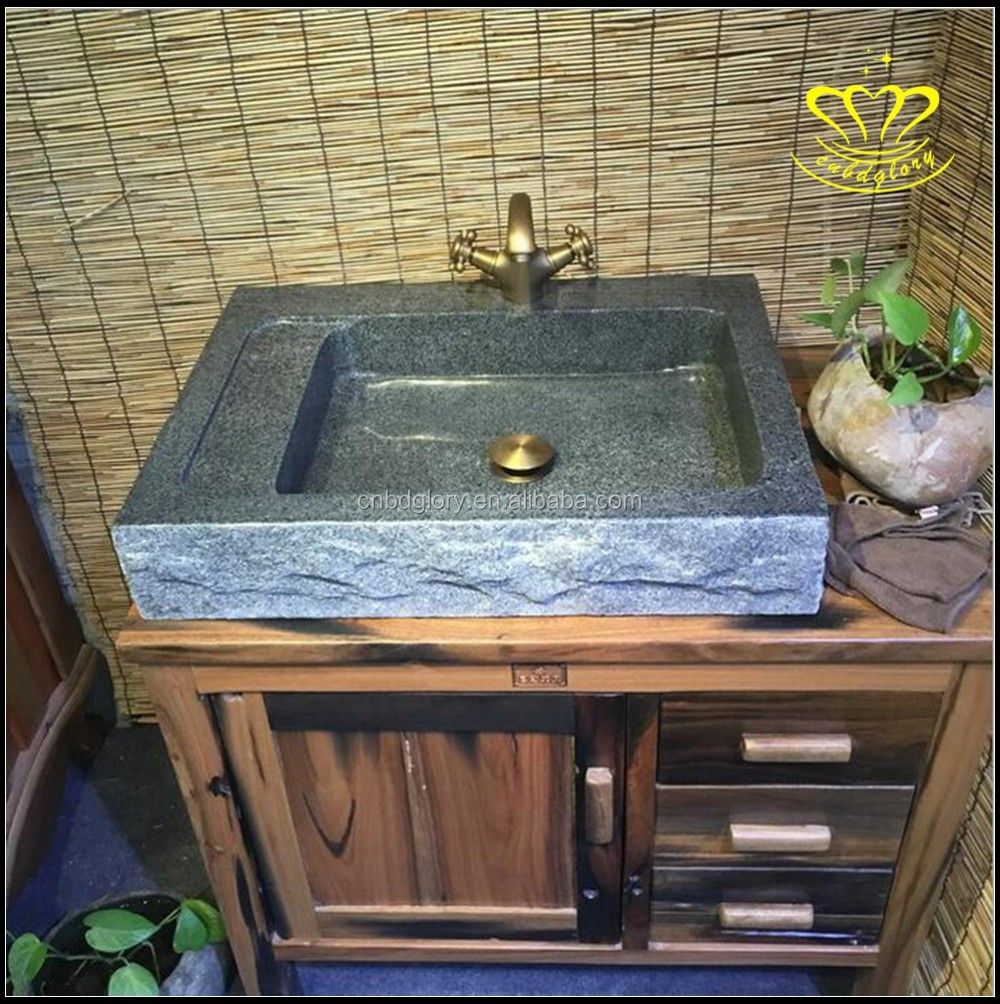 Rectangular Lavatory Single Bowl stone art wash basin