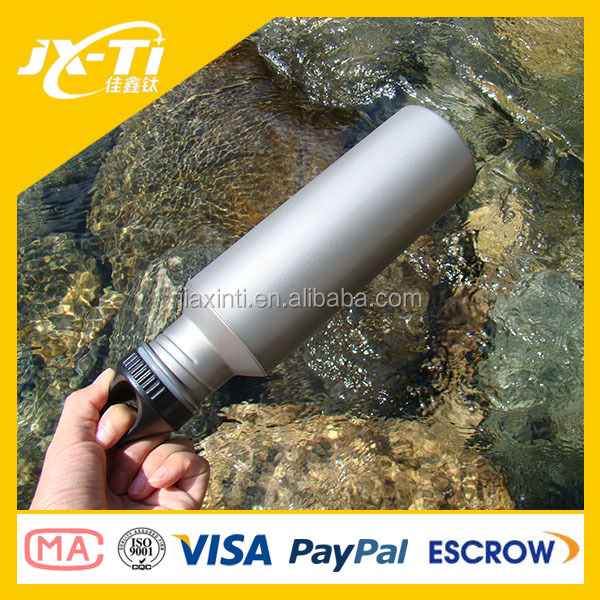 Titanium Water Bottle with plastic Lid, 700 ml Camping sport drinking Bottle manufacturer Campfire
