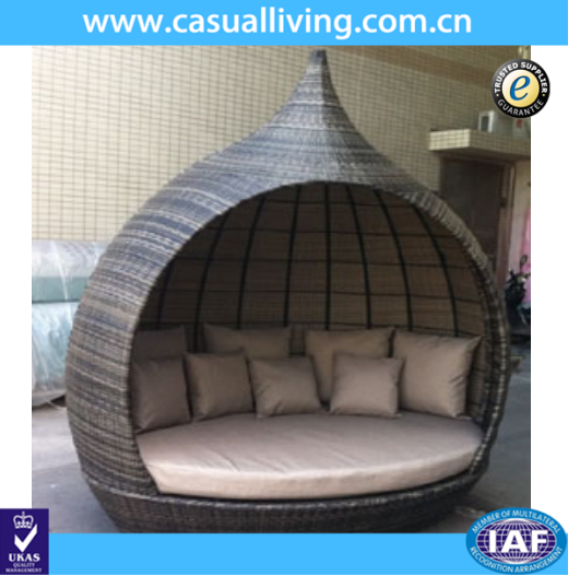 rattan round outdoor furniture lounge bed daybed with canopy