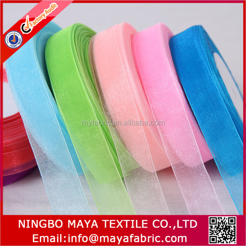 25mm 1 inch woven edged double face solid color sheer organza ribbon for gift packing ,6 10 12 16 20 38 50mm is available