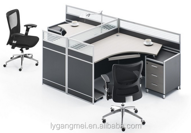 Modern 120 degree modular office cubicle workstation