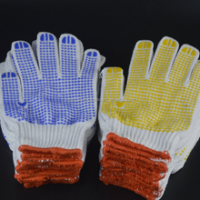 Double sided PVC Dotted cotton gloves for industrial use