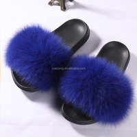 women's sandals slide fur custom fur slipper ladies Women Fancy Fur Slipper
