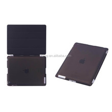 For iPad 2 3 4 Ultra Slim Magnetic Flip PU Leather Stand Brush Smart Cover Transparent Back Case With Wake Up / Sleep Function