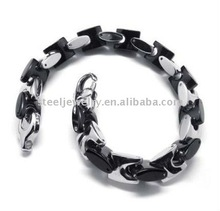 Mens Black Silver Stainless Steel Bangle