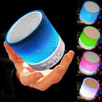 Colorful LED light mini bluetooth speaker with FM radio, aux line ine, usb slot and custom logo service