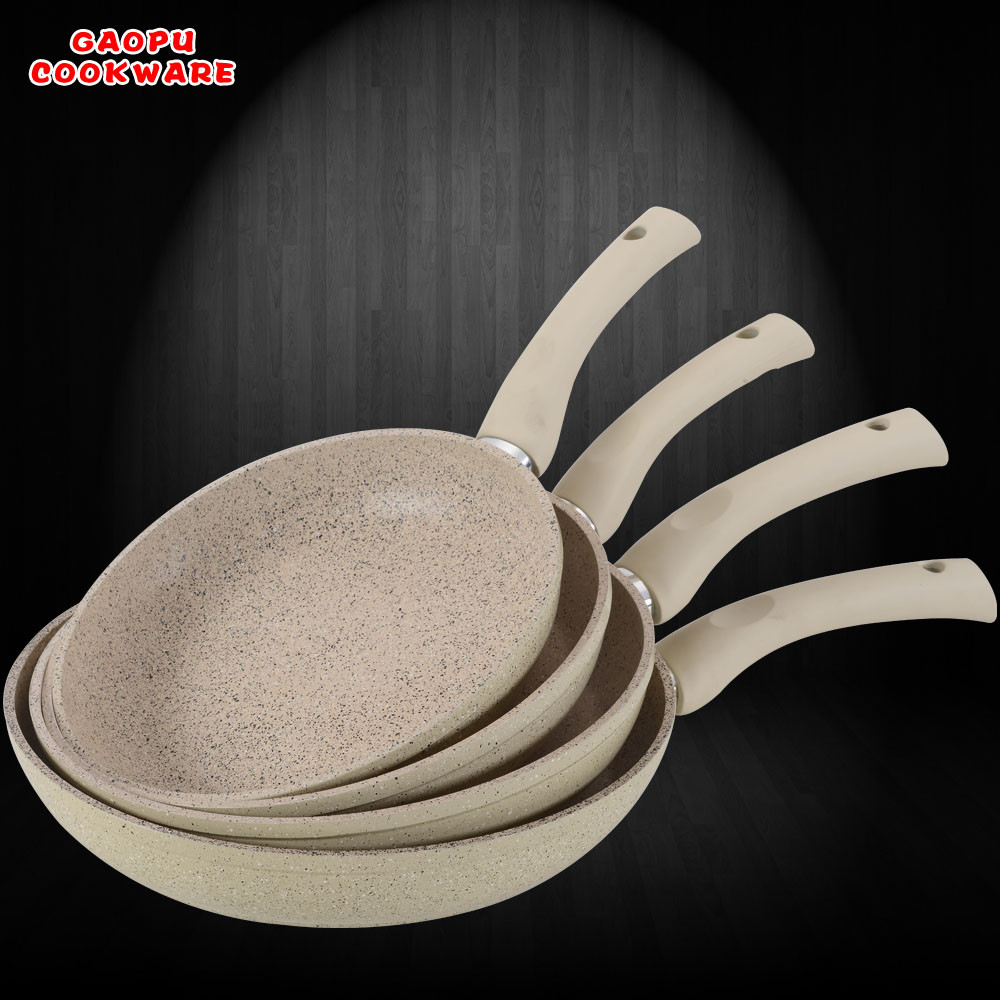 forged die cast aluminium ceramic marble coating non stick fry pan