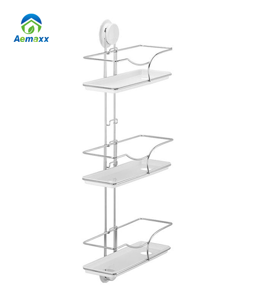 three tier stainless steel wall mounted hang up suction bathroom storage ladder shelf