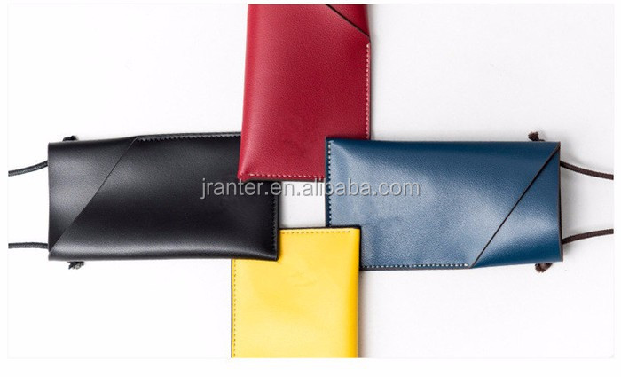 Leather Pouch Cute for iPhone Case with Long String Custom Mobile Hanging Pouch