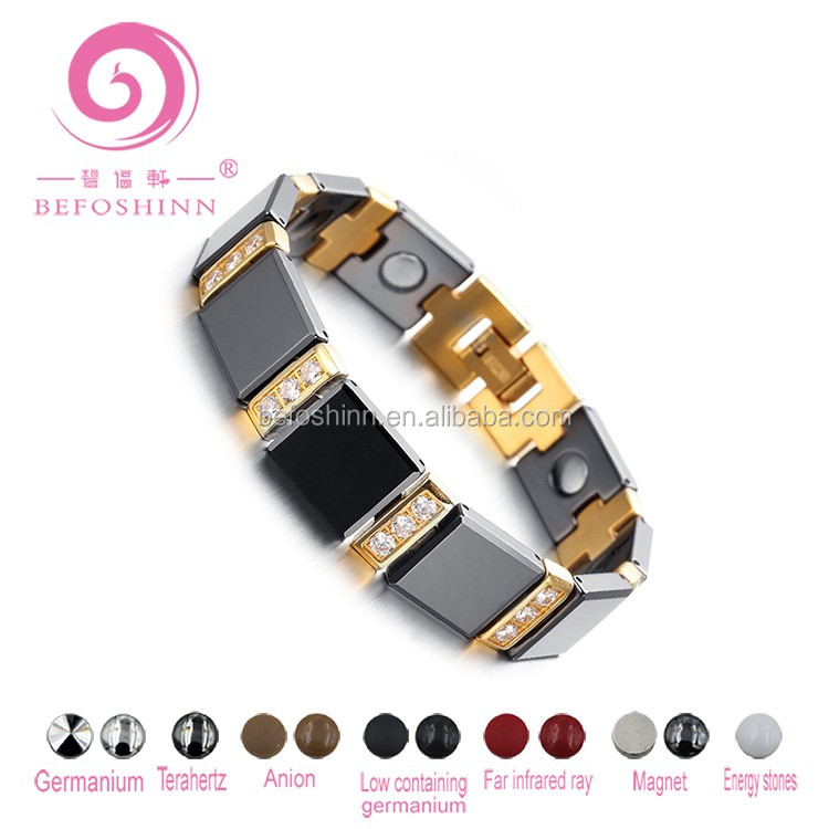 Fashion style 4 IN1 Germanium Powder Therapy Energy 18k Gold plating Tungsten health bracelet