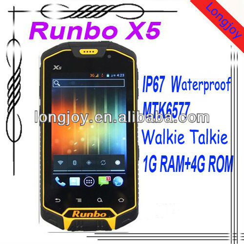 "Original Runbo X5 IP67 Dustproof Waterproof Rugged Outdoor cellphone 4.3"" Dual SIM MTK6577 with walkie talkie"