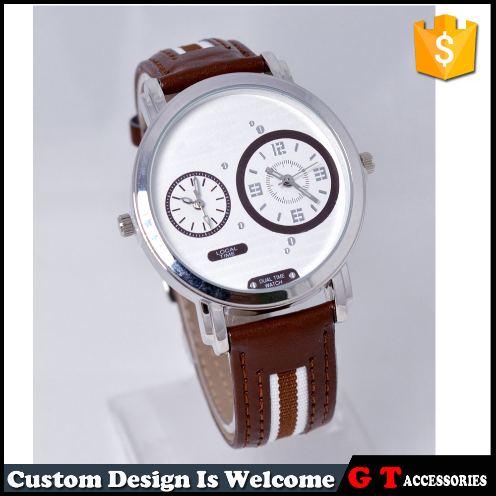 Japan movt quartz double movement watch leather strap alloy cheap wrist watch for <strong>men</strong> and women