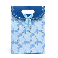 2016 The Most Popular Design Ribbon Tie Blue Gift Bags With Florals Printed