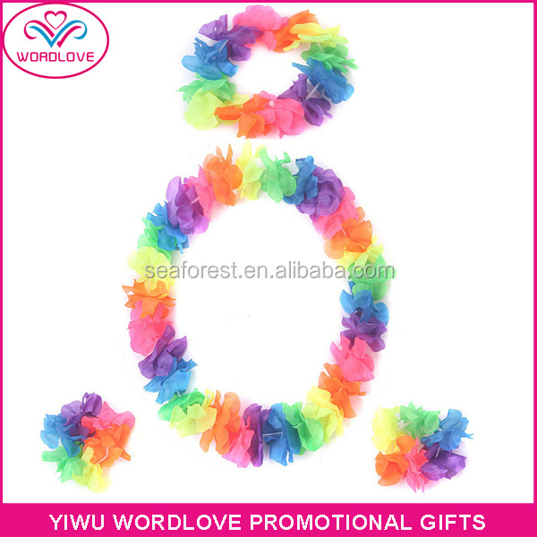 promotion polyester printed Hawaii lei,wholesale Hawaiian rainbow lei for cheering