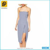 The fashion long korean irregular party dress / light blue low-cut dress /strapless dress with sheer skirt