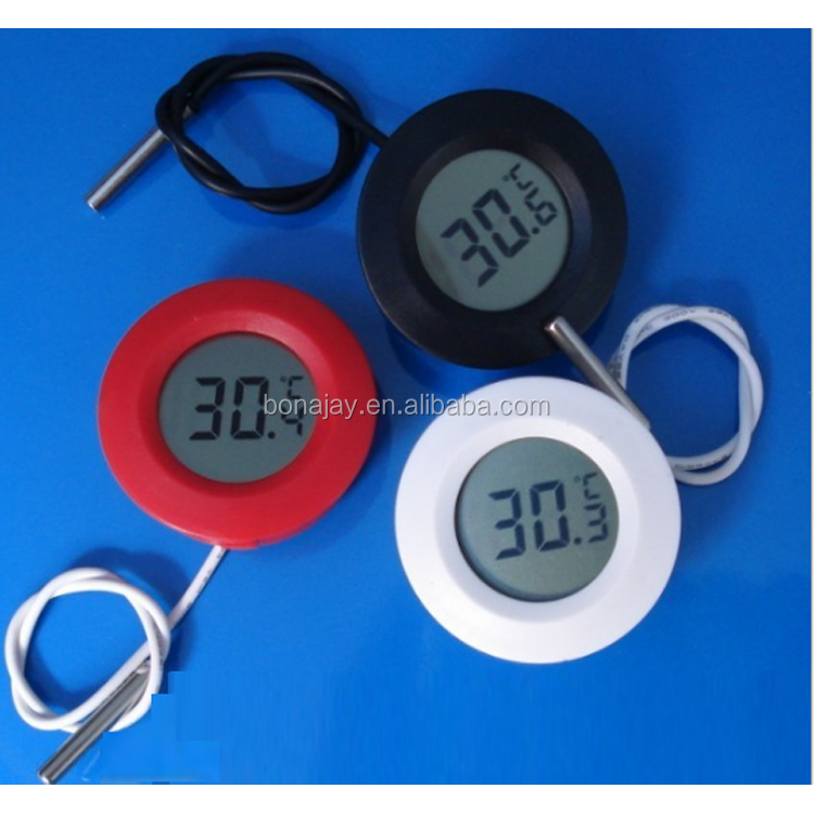Outdoor /indoor Round Black/White small digital thermometer