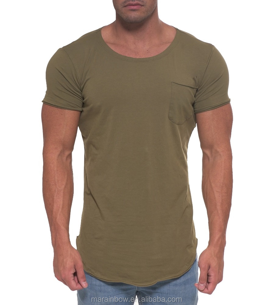 Fashion Pocket Scoop Neck Tee Wholesale Blank Streetwear Elongated T Shirt Longline Short Sleeve Curved Hem T Shirt