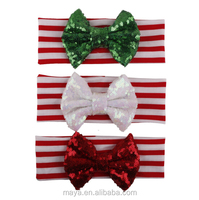2016 children Christmas big sequined bow baby headband wholesale