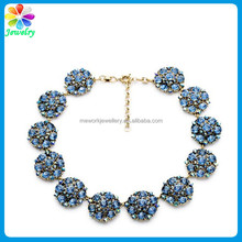 New Arrival!! Gold Plated Crystal Gems Water Drop Necklace Blue Ball Rhinestones Diamonds Gold Long Chain Necklace