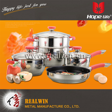 NO MOQ 8pcs stainless steel induction cookware set with casserole saucepan