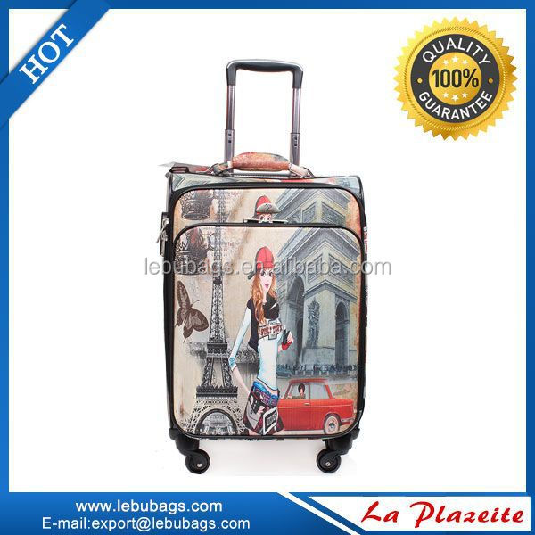 Latest styles for ABS&PC leopard printed hard side Trolley Luggage bag