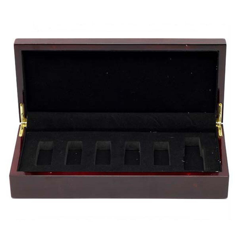 Professional wooden box for olive oil 6 bottles with EVA insert