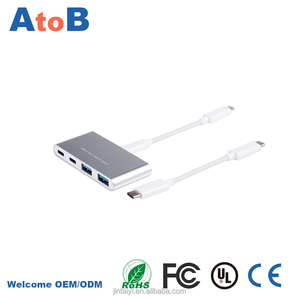 4 port usb hub with 2 port usb hub 3.0 type A and 2 port type C hub by factory wholesale