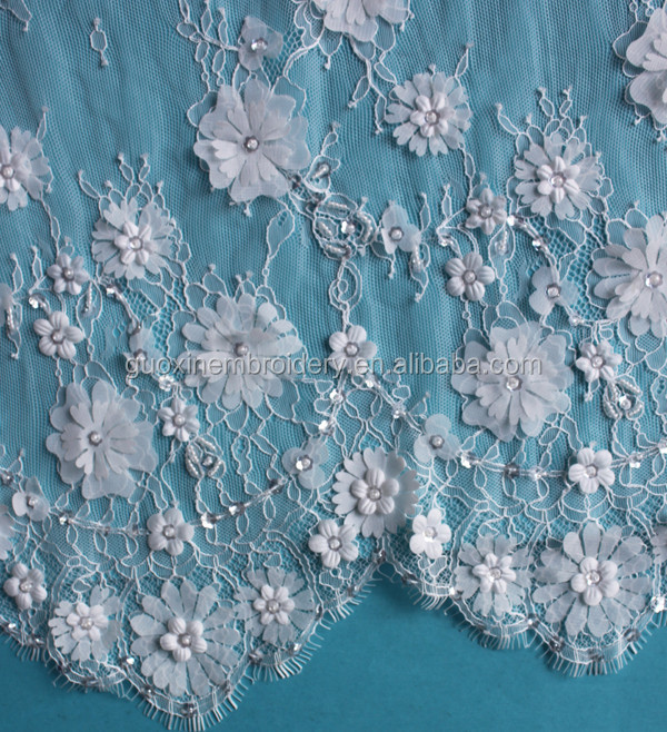 2016 Ivory Chantilly Lace Fabric /3D lace Embroidery Lace with beads
