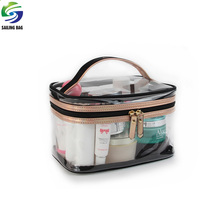 Basics clear pvc travel cosmetics makeup train case with zipper top closure and handle