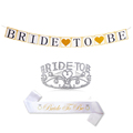 Hen party accessories gold glitter heart banner ,gold bridal crown and bride to be sash kits