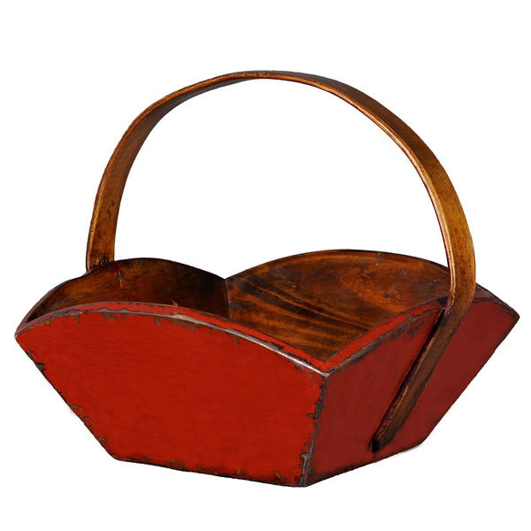 Rustic petal shape antique wood berry basket with wood handle