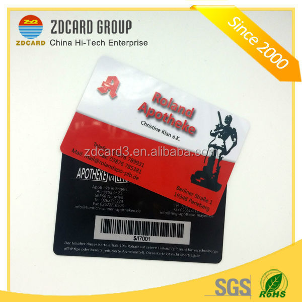 Promotional high quality standard size id business pvc cards sample