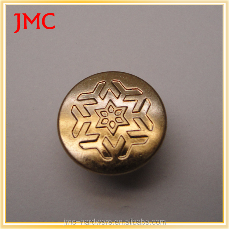 New design different types of custom logo brass denim metal jeans snap buttons fastenings for clothes