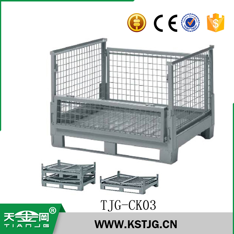 TJG-CK03 Mesh Box Wire Cage Metal Bin Used Steel Storage Container