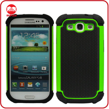 Green Football Pattern Hybird Impact Soft Hard Combo Defender Case for Galaxy S3