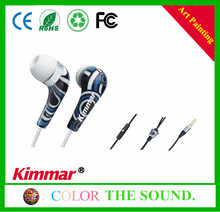 Wholesale Cute music earphones, stereo girls earbuds, sweat proof earphone with water transfer printing