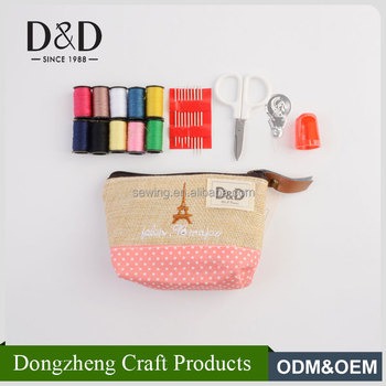 New arrival portable mini pouch sewing kit handmade fabric sewing tool