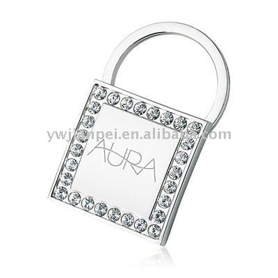 Popular crystal key ring with laser logo
