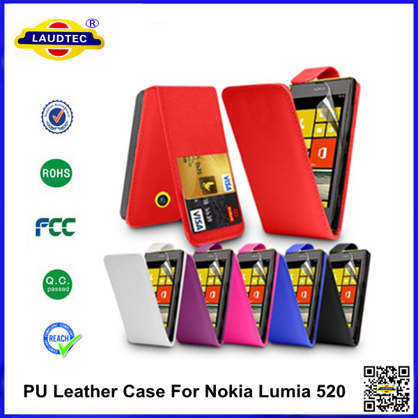 PU Leather Case Cover For Nokia Lumia 520 case Accessories--Laudtec