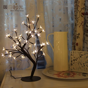 Top Sale Christmas Holiday Warm White 48Led plastic cherry blossom tree