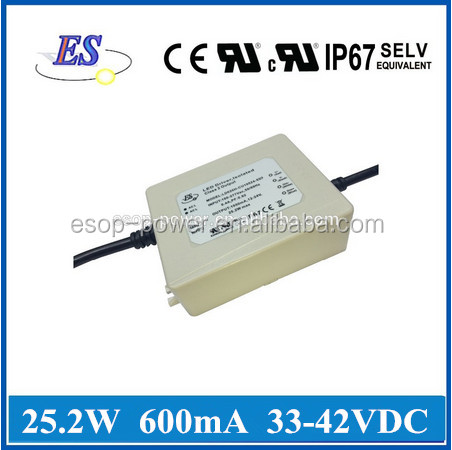 26W 42V 600mA AC-DC Constant Current/ Voltage Dimmable LED Driver with 0-10V Potentiometer Dimmer