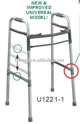 Two button aluminum walker for adult adjustable