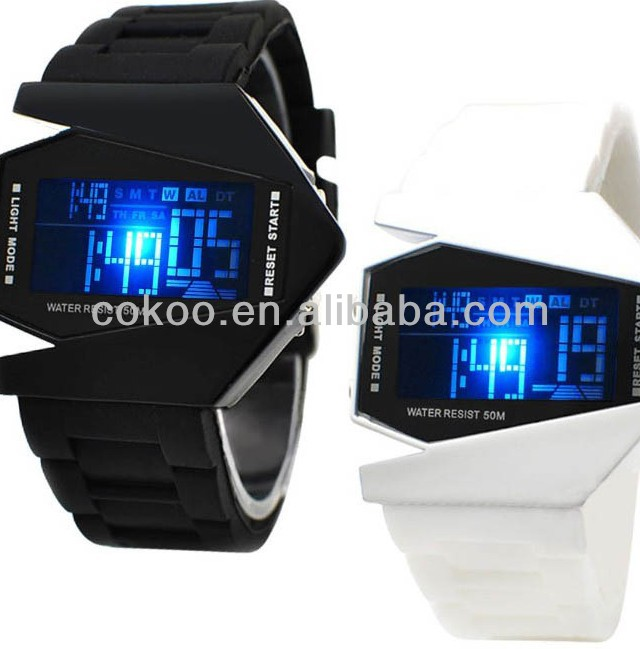 Watch Led watch Bomber Flashlight LED+12/24Hrs Military Force Sport Digital Calendar Cuff Watch