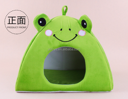 Customize cartoon pet house plush lovely frog sweet house for pet dog|cat