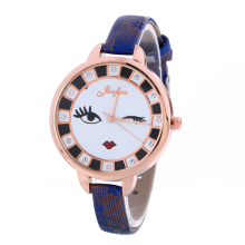 5132 Hot Design Girl Face Causal Fashion Thin Band Quartz Wrist Watch Wholesale Price leather belt watch