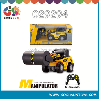 Hot selling 6 CH RC Roller mini construction truck manipulator remote control cars plastic toys for sale children fun toys
